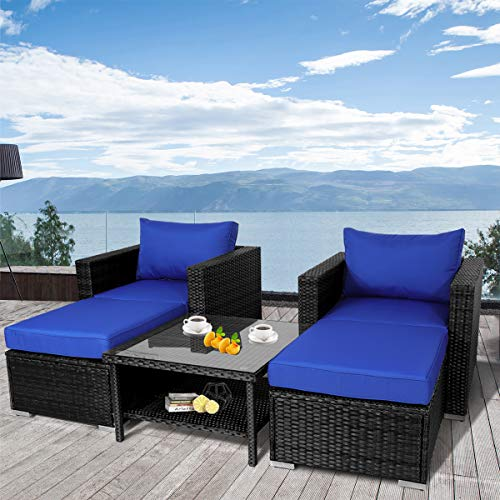 Leaptime Patio Sofa 5-Piece Black PE Rattan Couch Outdoor Garden Furniture with Royal Blue Cushion