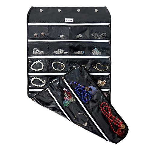 BB Brotrade Hanging Jewelry Organizer With Oxford Dual Side 56 Zippered Storage Pocket(Black)