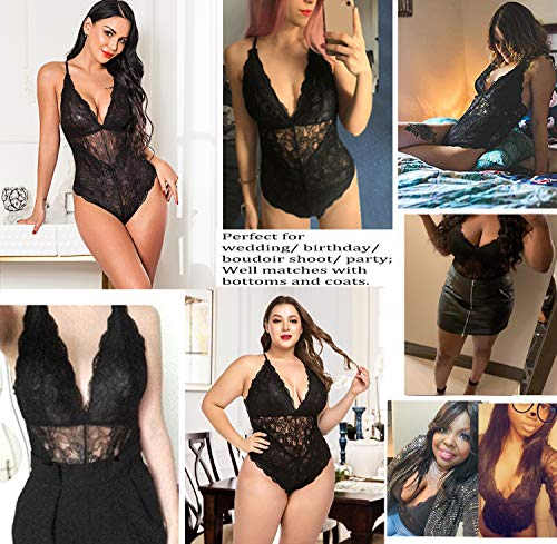Avidlove-Women-Snap-Crotch-Lingerie-Sexy-Lace-Bodysuit-Deep-V-Teddy-One-Piece-Lace-Babydoll