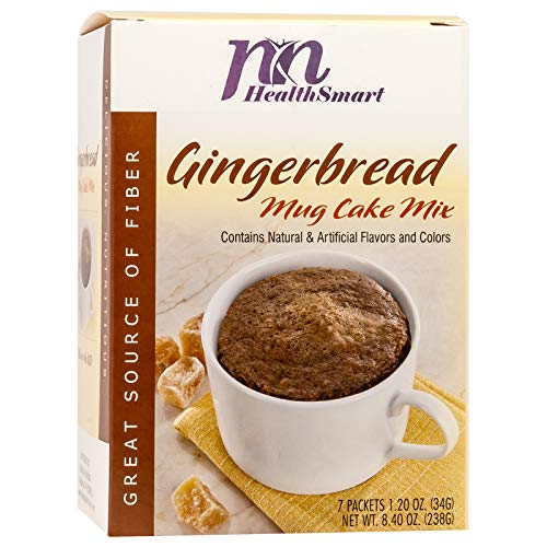 HealthSmart - Gingerbread Mug Cake Mix - 7 Individual Servings - Ready in under a Minute - High Protein 15g - Low Calorie - High Fiber - Low Sugar - Gluten Free