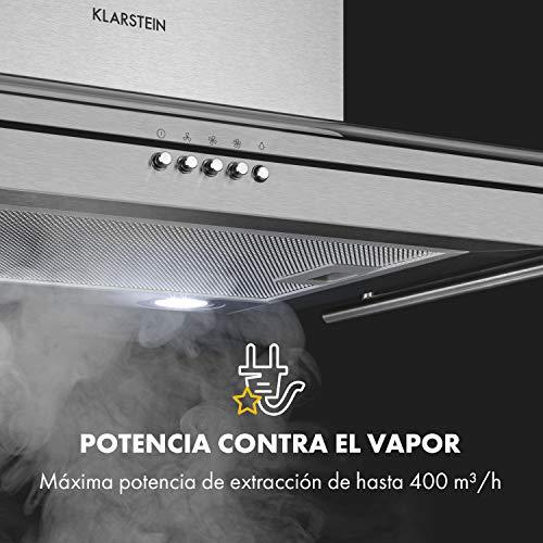 Klarstein Maverick - campana extractora con barandilla, extractor de pared, 70 cm, absorción de 400 m³/h, filtro de grasa de aluminio, 65 dB, función ventilación, acero inoxidable, vidrio, plateado