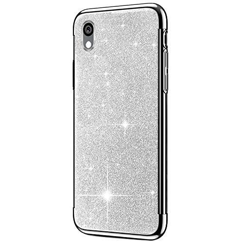 Saceebe Compatible avec Huawei Y5 2019 Coque Housse Glitter Paillette Brillant Strass Diamant Transparent Gel Silicone TPU Souple Ultra Mince Etui Chrome Placage Bumper Coque,Argent