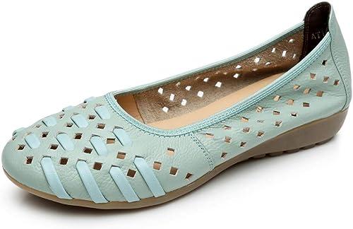 LXJL LXJL LXJL Les Les dames en Cuir Plates Occasionnels Les Les dames Fond Mou Sandales à Trou Creux antidérapantes Chaussures compensées Chaussures de Travail,d,42 f3f