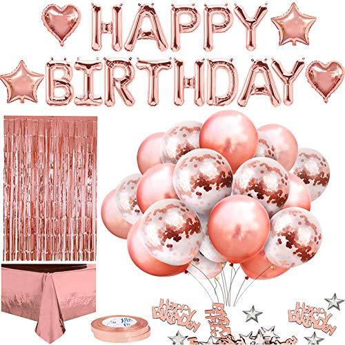 Globos De Cumpleaños Feliz Cumpleaños Decoración Regalos Regalos De Cumpleaños Damas Oro Rosa, Manteles, Confeti, Pancartas De globos De látex Impresos, Etc.