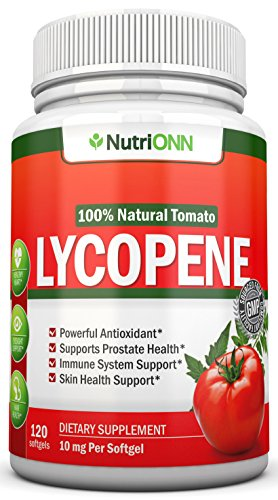 Lycopene - 10MG - 120 Softgels - 3 Month Supply - Premium Quality Antioxidant - 100% Natural Tomato - Great for Prostate Health, Immune System Support, Heart Health and Eyesight Support