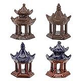 YARNOW 4 Piezas Mini Pagoda Estatua Miniatura Pagoda Cerámica para Acuario Paisaje Micro Zen Hada Gardenbonsai Accesorios de Decoración