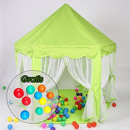 Aquagart® Kinderzelt Kinderspielzelt inklusive 10 Spielbällen Spielzelt Bällebad Prinzessinnenzelt Prinzessinnenschloss Spielschloss Spielhaus Kinderschloss Spielzelt für Kinder Grün mit Tragetasche
