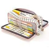 Voarge Estuche grande para lápices Boy Girl School Case, estuche con 3 compartimentos, para niños y adolescentes, multifuncional, para mujeres (rosa)