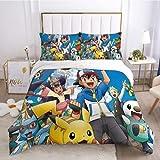 Juego de sábanas y fundas de almohada duraderas y suaves, juego de cama Pokémon, 1 funda de edredón y 2 fundas de almohada