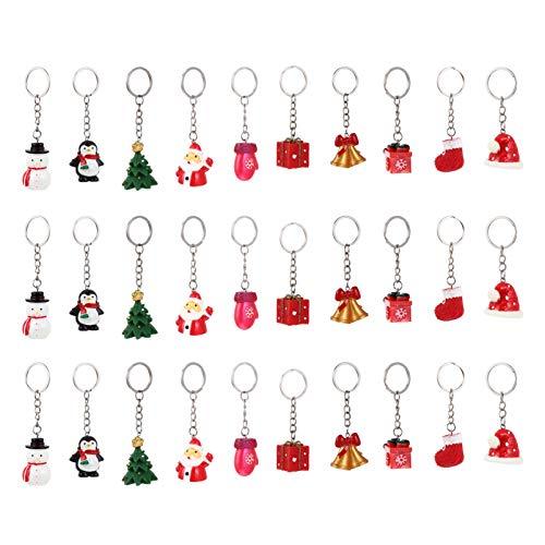 EXCEART 30 Piezas de Llavero de Serie Temática Navideña con Dibujos Creativos de Resina Llavero de Navidad Accesorio para Llave Adornos Colgantes para Árbol de Navidad Decoraciones