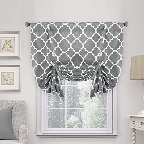 """H.VERSAILTEX Thermal Insulated Grey Blackout Curtain - Tie Up Shade for Small Window (Rod Pocket Panel, 42"""" W x 63"""" L, Moroccan Printed in Gray)"""