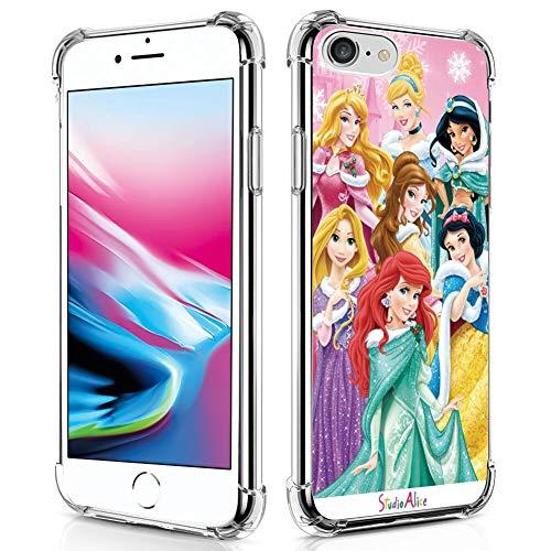 DISNEY COLLECTION Custodia trasparente per iPhone 7/8/SE2 Cute Best Disney Princess Party Pictures Hard PC Back Cover con 4 angoli Slim Cover protettiva per ragazze e donne