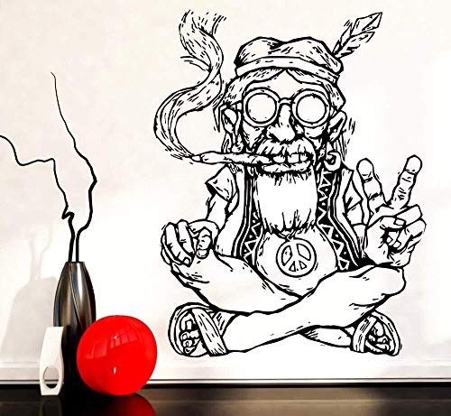 Roken Onkruid Marihuana Peace muursticker afneembare vinyl muursticker Hippie Bril Symbool Etnische decoratieve muursticker 57 * 84cm