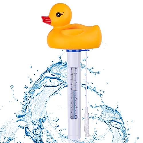 Supamz Schwimmende Pool Thermometer, Bruchfest Wasserthermometer mit Saite Schwimmbad Thermometer Wassertemperatur Poolthermometer Für Innen & Außen Pools, Spas, Whirlpool, Aquarien, Fischteiche