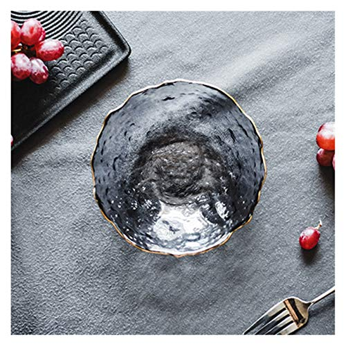 TAIYUAN Assiette Plaques en Verre Plaques de dîner irréguliers Plats en Verre d'or Cuisine Creative Salade Bol Transparent Bol en Verre et Plateau Plat Belle (Color : Grey 14cm)
