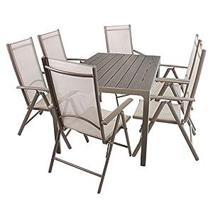 Wohaga Gartenmöbel Set Gartentisch, Aluminiumrahmen Champagnerfarben, Polywoodtischplatte, 150x90cm + 6X Hochlehner…