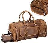 Luxuriöse Reisetasche Crazy Horse Leder Tasche für Kurze Geschäftsreise Sporttasche Vintage Cowboy Style mit Schuhfach Durable Duffel Bag