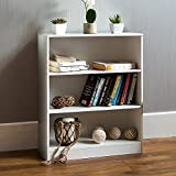 Vida Designs Cambridge 3 Tier Low Bookcase, White Wooden Shelving Display Storage Unit Office Living Room <span class='highlight'>Furniture</span>