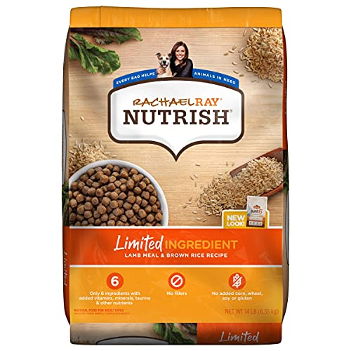 Rachael Ray Nutrish Limited Ingredient Lamb Meal & Brown Rice Recipe, Dry Dog Food, 14 Pound Bag (Packaging Design May Vary)