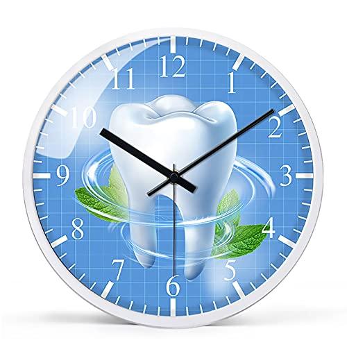 GFFTYX Reloj de Pared de Cristal Interesante, Relojes de Pared silenciosos Minimalistas Modernos, adecuados para el Reloj de decoración de la Pared en la Oficina del Dentista