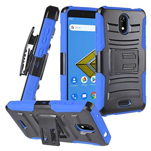 CELZEN - for Cricket Icon (1st Gen. 2019), Cricket Vision 2, Wiko Ride U300, AT&T Radiant Core U304A - Hybrid Phone Case w/ Stand/Belt Clip Holster - CV1 Blue