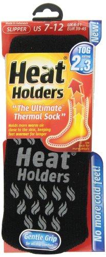 Heat Holders Mens Slipper Heat Holders, Black with Grey Grip, US Shoe Size 7-12
