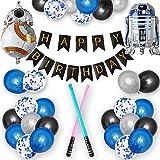 Globo de Cumpleaños Niños,Sable de Luz Inflable de Star Wars,Globos de Robot BB8 y R2D2,Pancarta de Cumpleaños de Star Wars Globos de Confeti de Látex para Niños