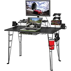 MADE FOR GAMERS – Atlantic's Gaming Desk is specifically designed for all your gaming gear, so you can focus on that epic battle. Made with sleek charcoal colored carbon fiber laminated top, provides ample room for your monitor, PC, laptop, games, sp...