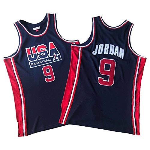 Jordan Dream Team # 9 Camiseta de Baloncesto Blanca, Uniforme de Baloncesto con Cuello en V Bordado Retro clásico, Camiseta de Baloncesto de Malla Transpirable (S-2XL) Black-L
