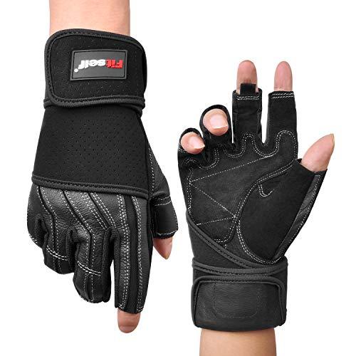 Fitself Fitness Handschuhe Leder Herren Damen Trainingshandschuhe Handgelenkschutz rutschfest für Gym Gewichtheben Baseball Reiten