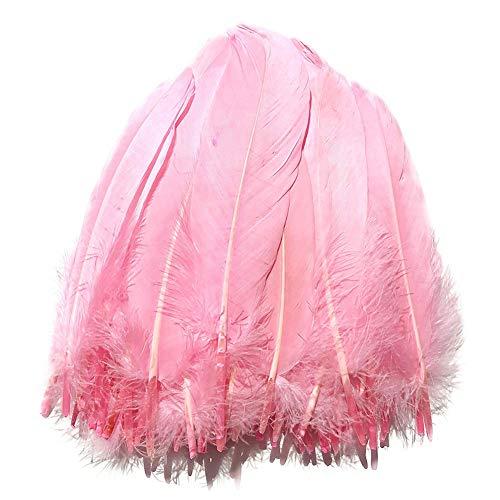 100 plumas de ganso SunEast, para bricolaje, atrapasueños, manualidades, bodas, fiestas, decoración del hogar, festivales, decoración para baby shower, 5 – 8 cm, color negro, Rosa, 15-20cm