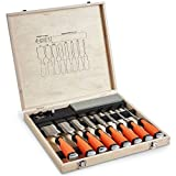 VonHaus 10 pc Premium Chisel Set for Woodworking with Honing Guide,...