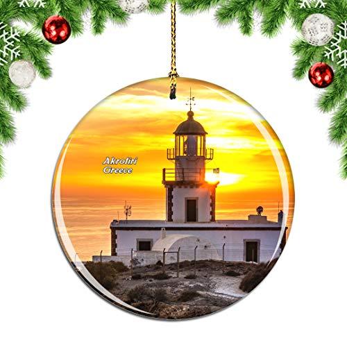Weekino Greece Santorini Akrotiri Lighthouse Christmas Xmas Tree Ornament Decoration Hanging Pendant Decor City Travel Souvenir Collection Double Sided Porcelain 2.85 Inch