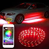 SHINFOK 4pz 90x120 cm Luce anabbagliante, Luce sottoscocca LED LStriscia audio Funzione di illuminazione sottoscocca Funzione Esecuzione di strisce di colori RGB Controllo delle app atmosfera luminosa