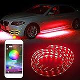 SHINFOK 4pcs 90X120CM Car Underglow Light,Car Underbody Light LED Glow Under Car Lights Strip Sound Actived Underglow Lighting Kit Function Running RGB Colors Strips App Control Atmosphere Lights