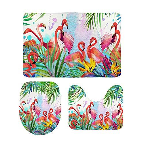 My Daily Ensemble de 3 tapis de salle de bain avec motif flamant rose et feuilles tropicales - Tapis de contour antidérapant + Housse d