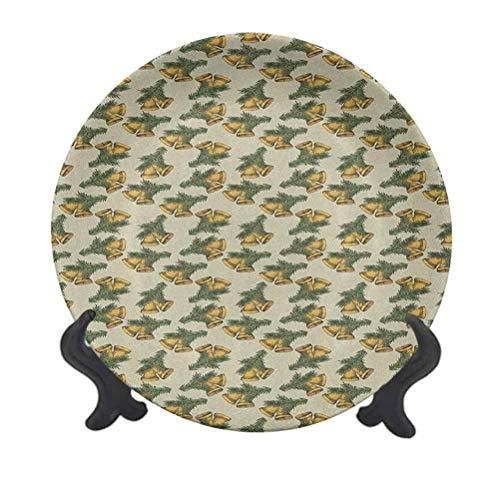 Plato decorativo de cerámica de 20,32 cm, diseño de campanas en pares con hojas de pino para celebraciones tradicionales, decoración de pared de cerámica accesorio para cenar, fiestas, bodas