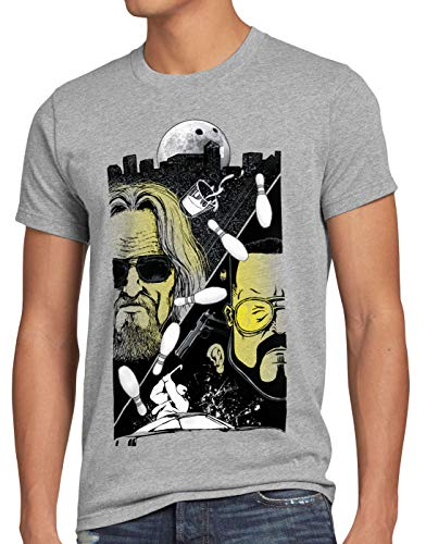 style3 The Dude T-Shirt Herren Lebowski Bowling Bowler Big Rude, Größe:4XL, Farbe:Grau meliert