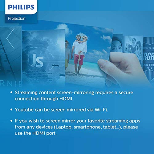 Philips NeoPix Prime Video Projector, 120 Inch Display, Wi-Fi Screen Mirroring, Bluetooth, Built-in Media Player, HDMI, USB, microSD, 3.5mm Audio Out Photo #8