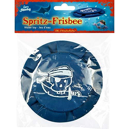 Die Spiegelburg Juguetes de Agua Piscina Playa Platillo Volador Platillo Volante Frisbee para Chiscar Agua Capitan Capt'N Sharky (Azul)
