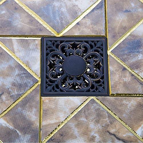 Olie Gewreven Zwart Brons Bloem Vierkante Carving Vloer Afval Roosters Badkamer Douche Afvoer Zeef 4 Inch Afvoer