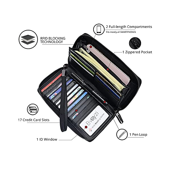 Women RFID Blocking Wallet Leather Zip Around Phone Clutch Large Travel Purse Wristlet 2