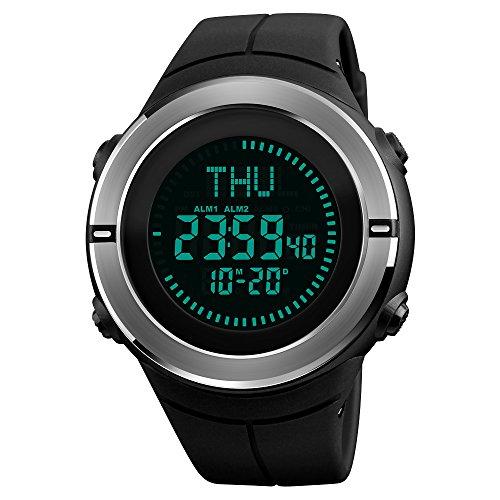Multifunktions Welt Zeit Sport Kompass Uhr, farsler 50 m Wasserdicht Luminous Herren elektronische Sport Uhr, voll Automatischer Kalender Damen Outdoor Digital Sport Armbanduhr