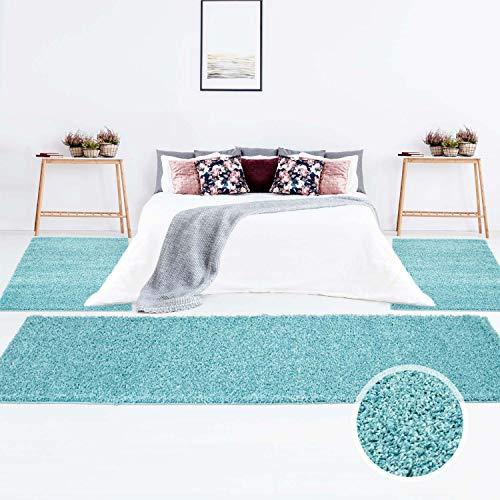 carpet city Teppich Shaggy Hochflor Langflor Einfarbig Türkis Öko Tex Bettumrandung 2X 80x150 & 1x 80x300