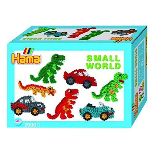 Hama 3502 - Bügelperlen Midi Geschenkpackung kleine Welt Dinosaurier & Auto blau 2