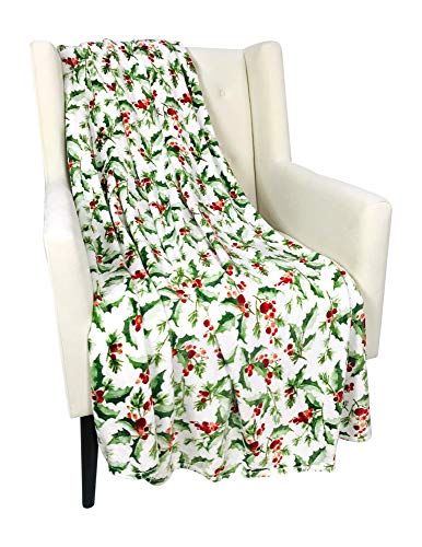 Christmas Holiday Throw Blanket: Country Rustic Green Holly Red Berries Accent for Sofa, Chair or Bed (Style 5)