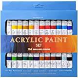 Fovely Conjunto Esencial de Pintura de Acuarela - 24 Colores DIY Pinturas acrílicas Set Tubos Dibujo Pintura Pigmento Pintura de Pared Pintada a Mano para Artista (12ml 24 Colores)