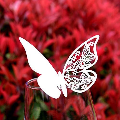 EAST-WEST Trading, segnaposto punzonato in 3D a forma di farfalla, 50 pezzi, per bicchieri, utilizzabile come segnaposto su bicchieri, per feste di matrimonio, compleanno e battesimo
