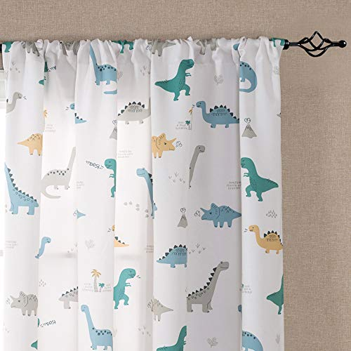 Vangao Printed Curtains for Kids Boys Room 84 inches White Curtains Dinosaur Pattern Nursery Drapes Window Curtain Panels for Bedroom Rod Pocket, 2 Panels
