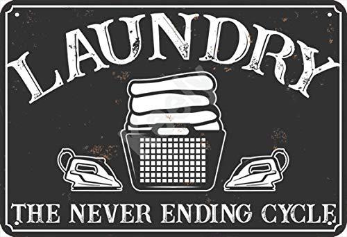none_branded Laundry The Never Ending Cycle Cartel de Chapa Metal Advertencia Placa...